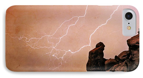 Praying Monk Camelback Mountain Lightning Monsoon Storm Image Tx IPhone Case