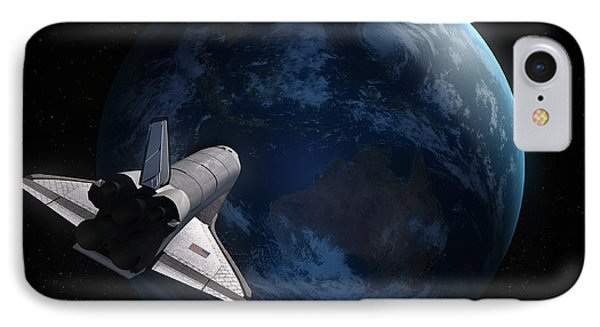 Space Shuttle Backdropped Against Earth IPhone Case