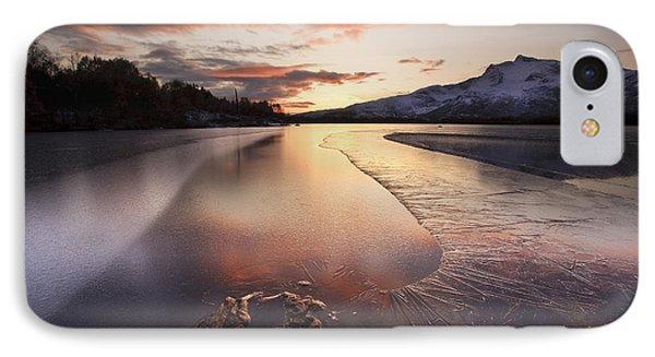 A Frozen Straumen Lake On Tjeldoya IPhone Case