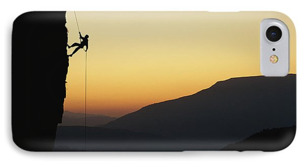 Republic Of South Africa iPhone 8 Case - A Man Rappels Down A Cliff by Bill Hatcher