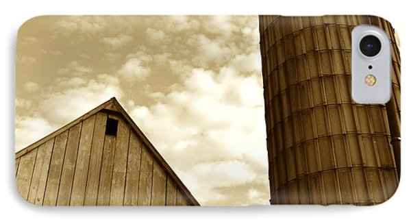 Barn And Silo In Sepia IPhone Case