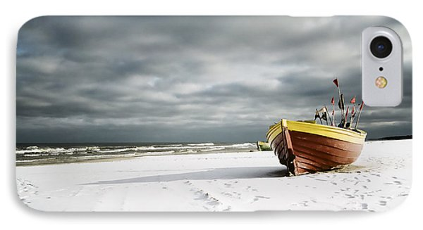Boat On Snowy Beach IPhone Case