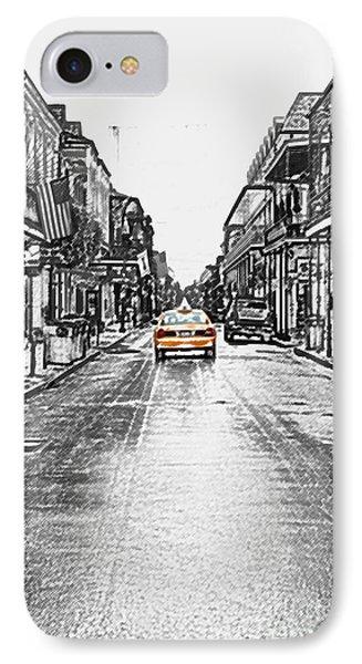 Bourbon St Taxi French Quarter New Orleans Color Splash Black And White Colored Pencil Digital Art IPhone Case
