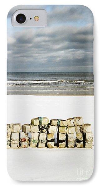 Concrete Bricks On A Snowy Beach IPhone Case