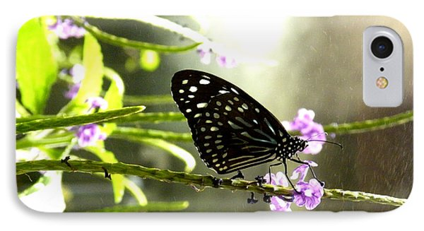 Dark Blue Tiger Butterfly In The Rain IPhone Case