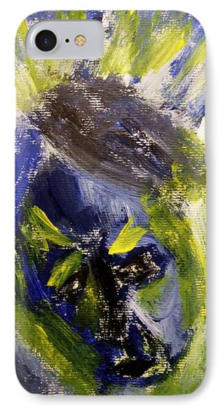 Despondent Expressionistic Portrait Figure In Blue And Yellow Religious Symbols Of Glory Bursting IPhone Case