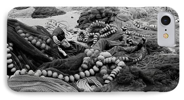 Fisherman Sleeping On A Huge Array Of Nets IPhone Case