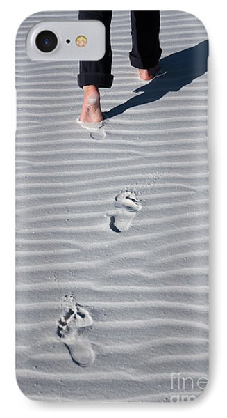 Footprint On White Sand IPhone Case