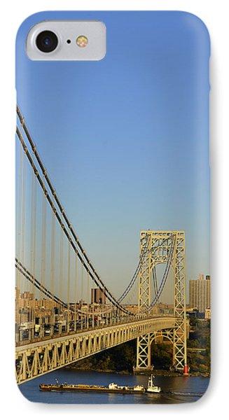 George Washington Bridge And Boat IPhone Case