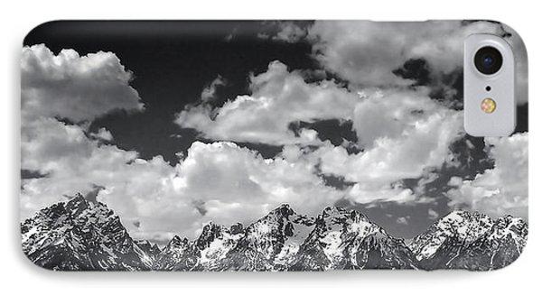 Grand Tetons Panorama In Monochrome IPhone Case