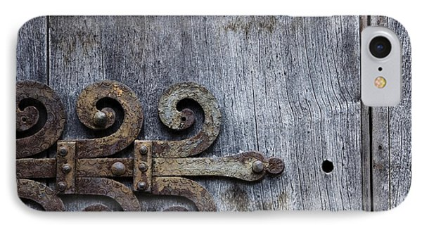Gray Wooden Doors With Ornamental Hinge IPhone Case