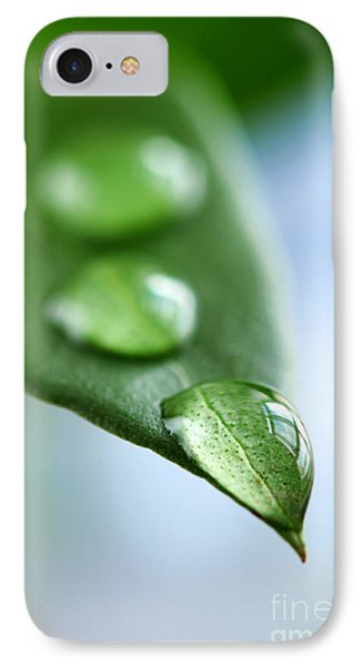 Green Leaf With Water Drops IPhone Case