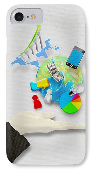 Hand And Globe On Hand Made Paper  IPhone Case