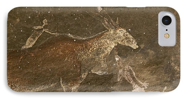 Republic Of South Africa iPhone 8 Case - Hunters And Animals In A Cave Painting by Kenneth Garrett