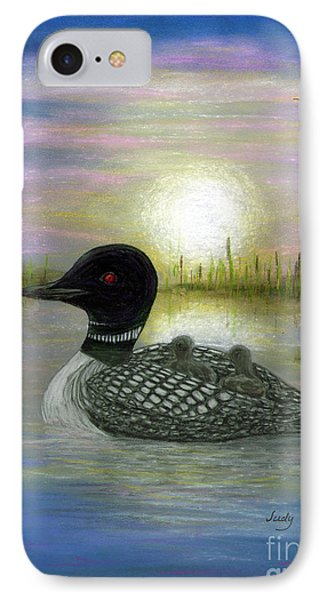 Loon Babies On Mother's Back Judy Filarecki IPhone Case