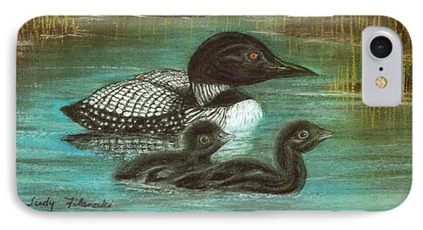 Loon Babies With Mother Judy Filarecki Pastel Painting IPhone Case