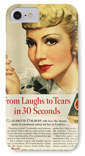 Luckys Cigarette Ad, 1938 IPhone Case