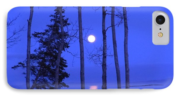 May Moon Through Birches IPhone Case