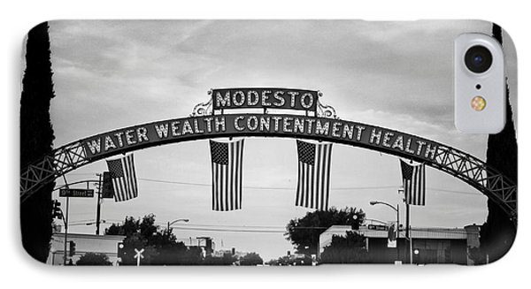 Modesto Arch With Flags IPhone Case