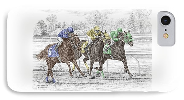 Neck And Neck - Horse Race Print Color Tinted IPhone Case