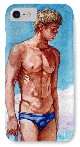 Nude Male Blonde In Blue Speedo IPhone Case