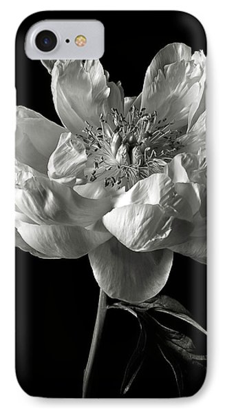 Open Peony In Black And White IPhone Case