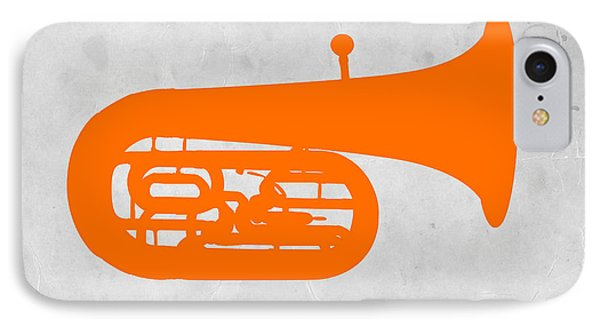 Trombone iPhone 8 Case - Orange Tuba by Naxart Studio