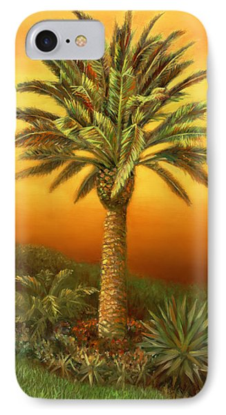 Palm Tree At Dusk In Rust IPhone Case