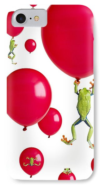 Red-eyed Treefrogs Floating On Red IPhone Case