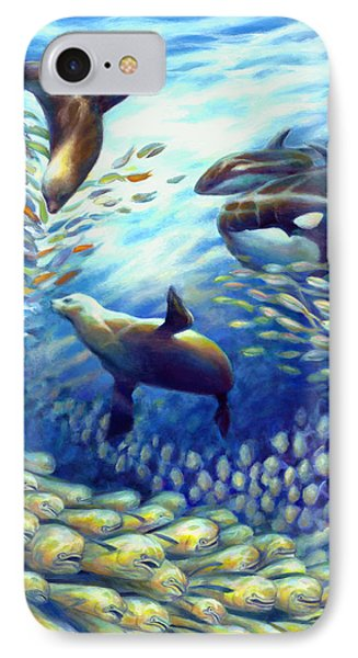 Sailfish Plunders Baitball IIi - Dolphin Fish Seals And Whales IPhone Case