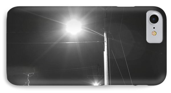 Street Light  Lightning In Black And White IPhone Case