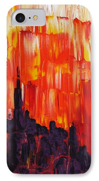 Sunset Of Melting Waterfall Behind Chicago Skyline Or Storm Reflecting Architecture And Buildings IPhone Case