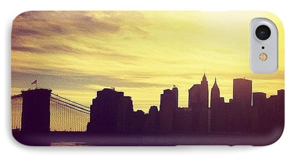 Sunset Over The New York City Skyline And The Brooklyn Bridge IPhone Case