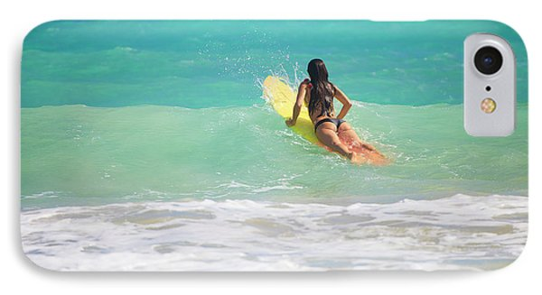 Surfer Girl Paddling Out IPhone Case
