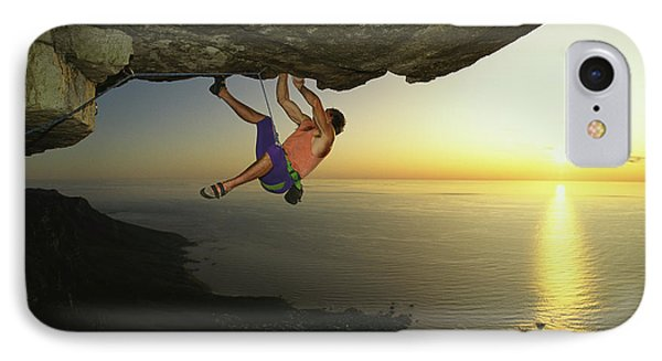 Republic Of South Africa iPhone 8 Case - Todd Skinner Climbs A Big Roof On South by Bill Hatcher