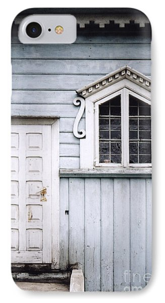 White Doors And Window On Bluish Wooden Wall IPhone Case