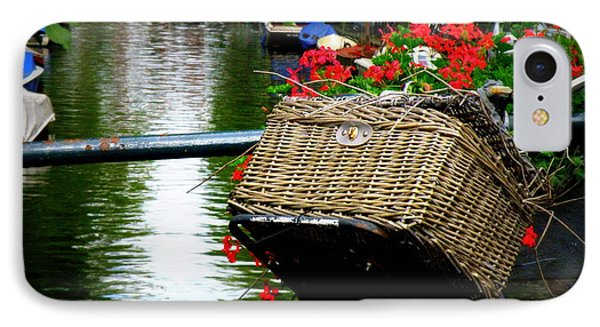 Wicker Bike Basket With Flowers IPhone Case