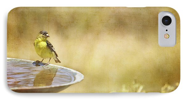 Yellow Bird Upon A Fountain IPhone Case