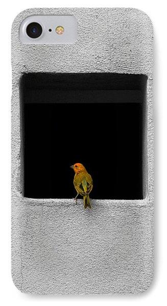 Yellow Birdie On The Window Sill IPhone Case