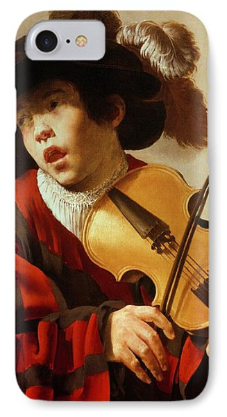 Violin iPhone 8 Case -  Boy Playing Stringed Instrument And Singing by Hendrick Ter Brugghen