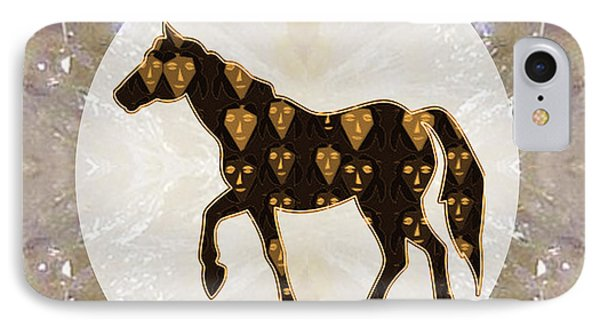 Horse Prancing Abstract Graphic Filled Cartoon Humor Faces Download Option For Personal Commercial  IPhone Case