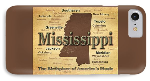Aged Mississippi State Pride Map Silhouette  IPhone Case