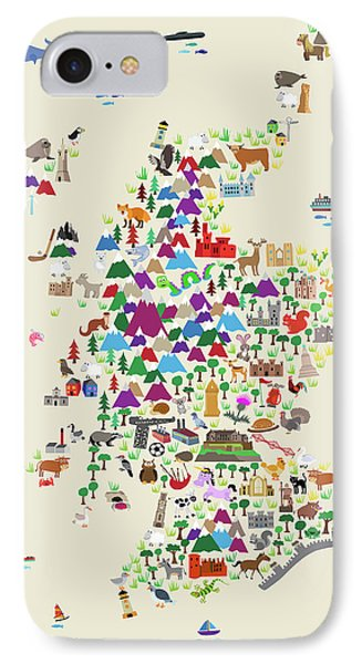 Scotland iPhone 8 Case - Animal Map Of Scotland For Children And Kids by Michael Tompsett