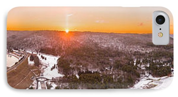 Barkhamsted Reservoir And Saville Dam In Connecticut, Sunrise Panorama IPhone Case