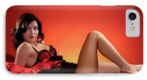 Beautiful Woman With A Glass Of Wine IPhone Case