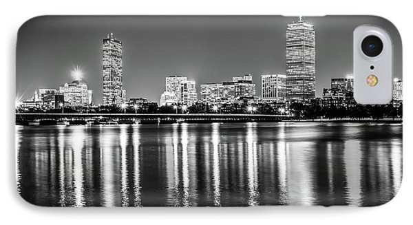 Boston Skyline At Night Black And White Picture IPhone Case