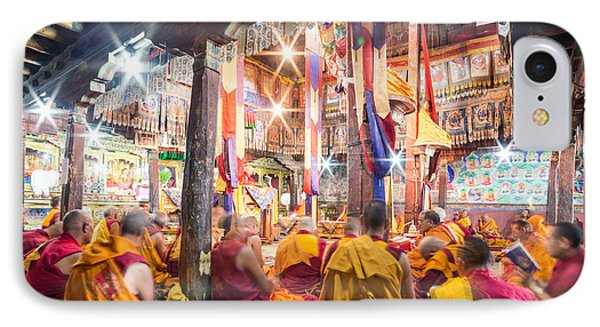 Buddhist Monks Praying In Thiksay Monastery IPhone Case