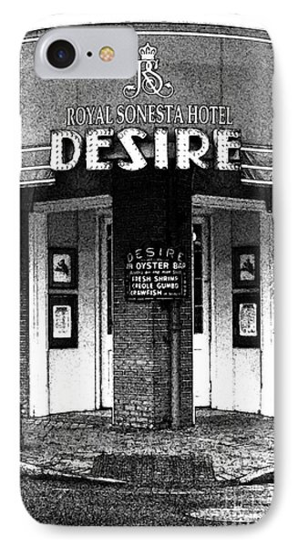 Desire Corner Bourbon Street French Quarter New Orleans Black And White Fresco Digital Art IPhone Case
