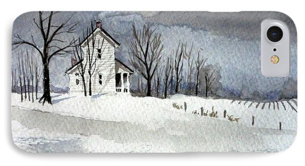 Farmhouse In Winter IPhone Case