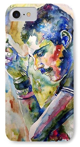 England iPhone 8 Case - Freddie Mercury Watercolor by Suzann Sines